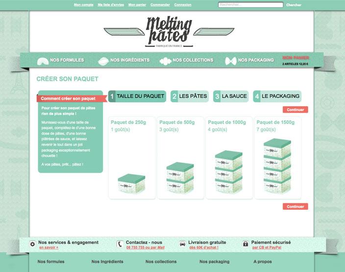 Melting Pâtes, un projet Magento